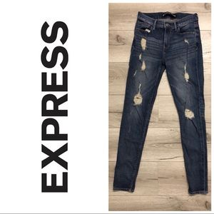 Distressed Express mid rise legging jeans 6R